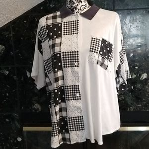 Vintage 80's button polka dot checker pattern tee